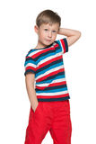 Pensive boy stands Stock Photo