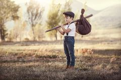 Thoughtful kid travel Stock Photography