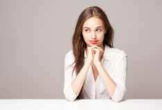 Pensive brunette beauty. Royalty Free Stock Images