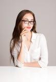 Pensive brunette beauty. Stock Photos