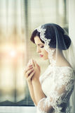 Pensive brunette bride Stock Photography