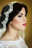 Pensive brunette bride Royalty Free Stock Photography