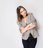 Pensive brunette business beauty. Stock Image