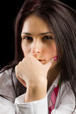 Pensive brunette lady Royalty Free Stock Image