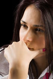 Pensive brunette lady Royalty Free Stock Photos
