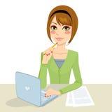 Pensive Brunette Secretary vector illustration
