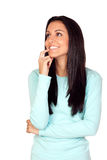 Pensive brunette woman Royalty Free Stock Images