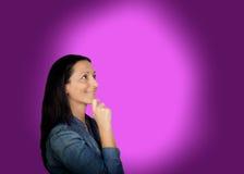 Pensive brunette woman Stock Photography