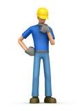 Pensive builder Stock Image