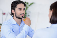 Pensive business partners deciding to make project Royalty Free Stock Images