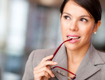Pensive business woman Stock Photos
