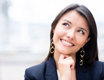 Pensive business woman Royalty Free Stock Photos