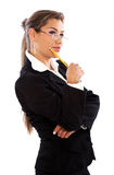 Pensive business woman Royalty Free Stock Photography