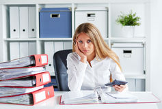 Pensive business woman Royalty Free Stock Photo