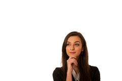 Pensive business woman looking into copy space isolated over whi. Te Royalty Free Stock Images