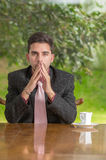 Pensive businessman with concentration at home Royalty Free Stock Photography