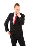 Pensive businessman - man isolated on white background Royalty Free Stock Images