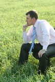 Pensive businessman on meadow Stock Images