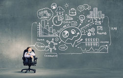 Pensive businessman searching solution Royalty Free Stock Photo