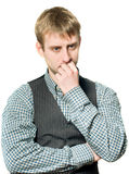 Pensive businessman on white Stock Images