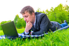 Pensive businessman working Stock Photo