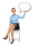 Pensive businesswoman with blank text bubble Stock Images