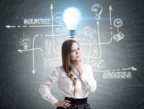 Pensive businesswoman, business idea Stock Photography