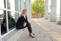 Pensive businesswoman Royalty Free Stock Images