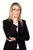 Pensive businesswoman with glasses. Isolated on white background Royalty Free Stock Photos