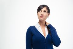 Pensive businesswoman looking up Royalty Free Stock Photo