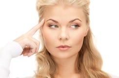 Pensive businesswoman over white stock photos