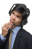 Pensive call center agent royalty free stock photos