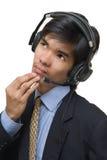 Pensive call center agent Royalty Free Stock Photos