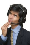 Pensive call center agent stock image