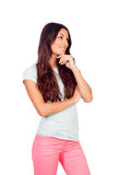 Pensive casual girl Stock Image