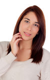 Pensive casual girl Royalty Free Stock Image
