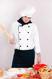 Pensive chef Stock Images