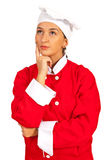 Pensive chef woman Stock Image