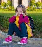 Pensive child girl . Stock Photo