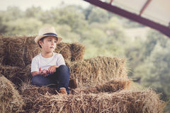 Pensive child. In a haystack Stock Photography