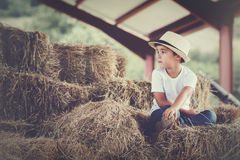 Pensive child. In a haystack Royalty Free Stock Photography