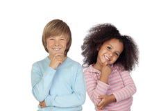 Pensive children isolated Stock Image