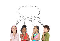 Pensive children royalty free stock images