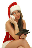 Pensive christmas woman Stock Photos