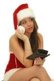 Pensive christmas woman stock photos