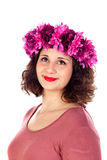 Pensive curvy girl with a flowered headdress Royalty Free Stock Photography