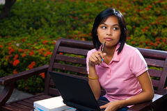 Pensive Cute College Student Bench Laptop Stock Photo