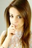 Pensive cute woman closeup Royalty Free Stock Photo