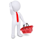 Pensive 3d white man with a shopping basket Stock Photo