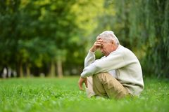 Pensive elderly man Royalty Free Stock Image